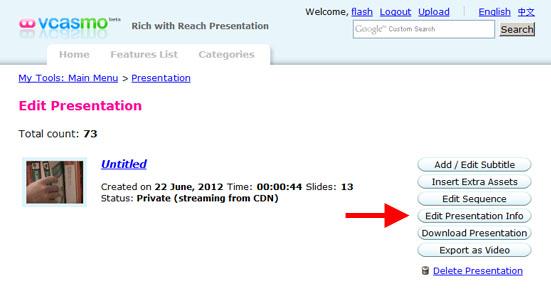 Edit Presentation Info